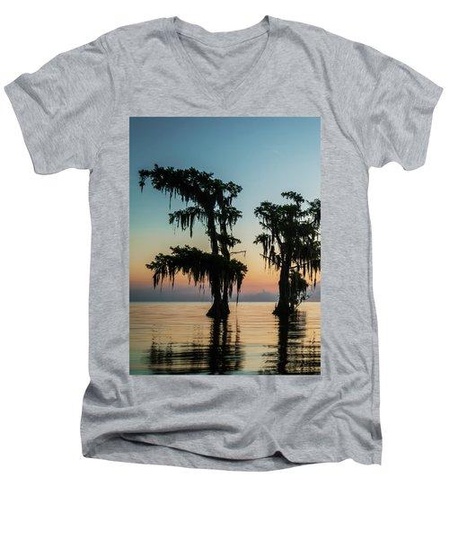 Lake Maurepas Sunrise Triptych No 3 Men's V-Neck T-Shirt