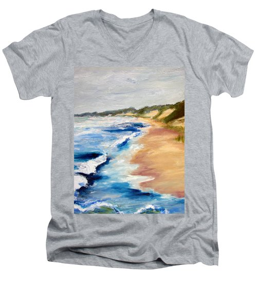 Lake Michigan Beach With Whitecaps Detail Men's V-Neck T-Shirt