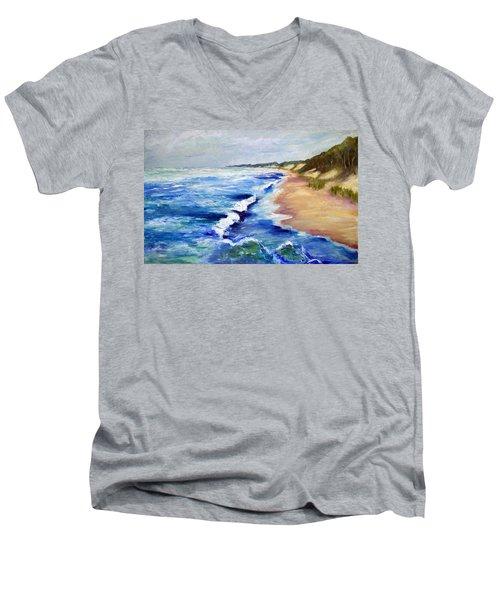 Lake Michigan Beach With Whitecaps Men's V-Neck T-Shirt