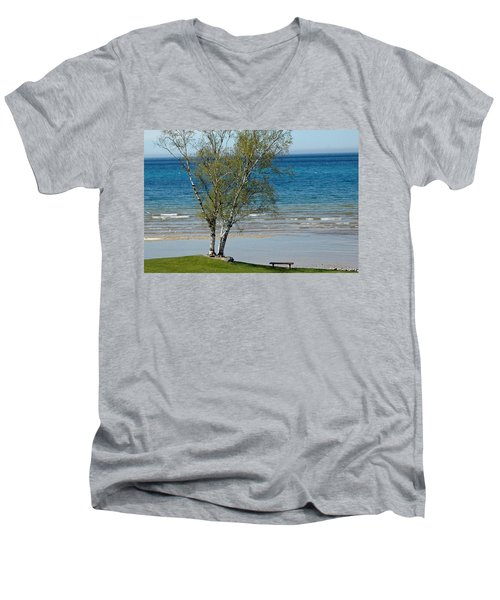 Men's V-Neck T-Shirt featuring the photograph Lake Michigan Birch Tree Bench by LeeAnn McLaneGoetz McLaneGoetzStudioLLCcom