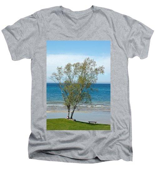 Men's V-Neck T-Shirt featuring the photograph Lake Michigan Birch Tree by LeeAnn McLaneGoetz McLaneGoetzStudioLLCcom