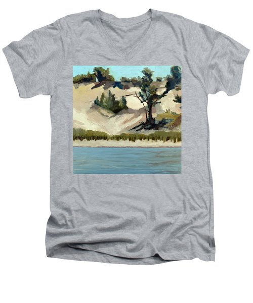 Men's V-Neck T-Shirt featuring the painting Lake Michigan Dune With Trees And Beach Grass by Michelle Calkins