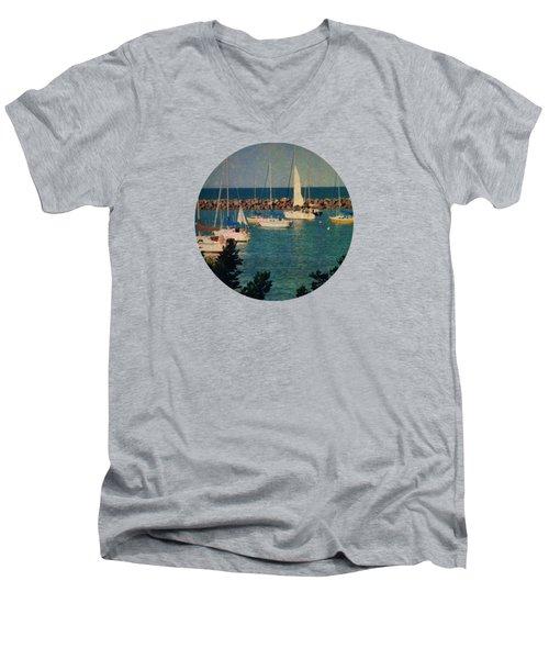 Lake Michigan Sailboats Men's V-Neck T-Shirt by Mary Wolf
