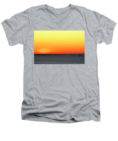 Men's V-Neck T-Shirt featuring the photograph Lake Michigan Sunrise by Zawhaus Photography