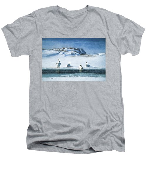 Lake Michigan Swans Men's V-Neck T-Shirt by Dennis Cox WorldViews