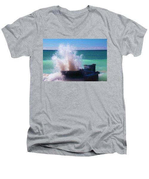 Lake Michigan Wave Crash Men's V-Neck T-Shirt