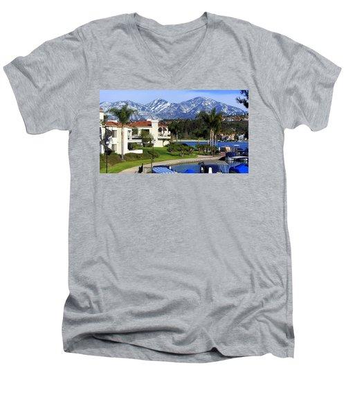 Lake Mission Viejo Snow On Saddleback Mountain Men's V-Neck T-Shirt