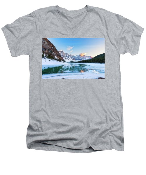 Lake Moraine Sunset Men's V-Neck T-Shirt