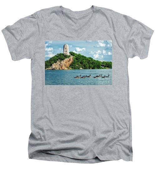 Lake Murray's Gaggle Of Geese Men's V-Neck T-Shirt by Tamyra Ayles