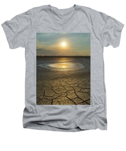 Lake On Fire Men's V-Neck T-Shirt