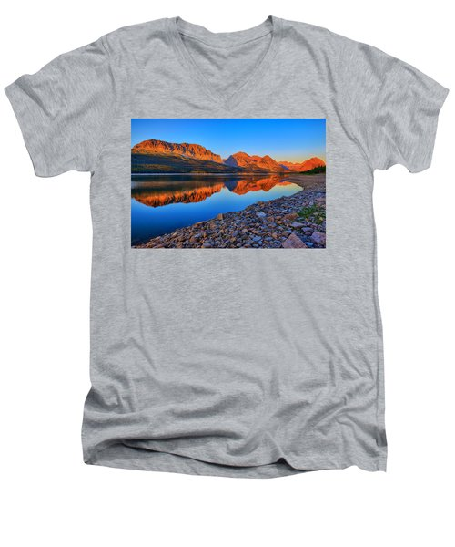 Lake Sherburne Dawn Men's V-Neck T-Shirt by Greg Norrell
