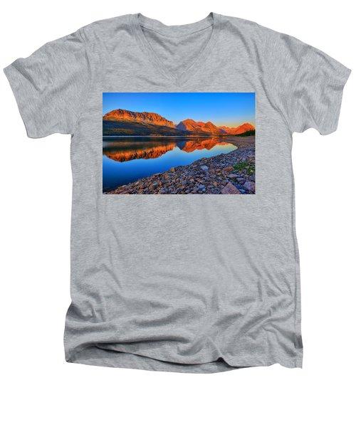 Lake Sherburne Dawn Men's V-Neck T-Shirt