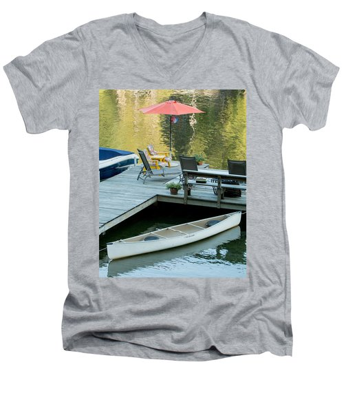Lake-side Dock Men's V-Neck T-Shirt by E Faithe Lester