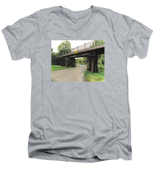Men's V-Neck T-Shirt featuring the painting Lake St. Rr Overpass by Ferrel Cordle
