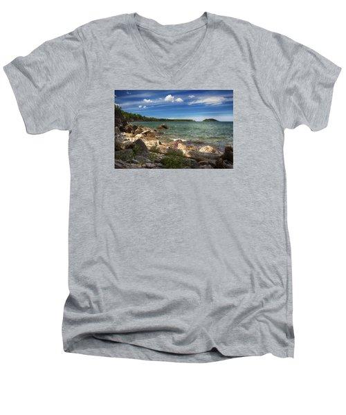 Lake Superior Men's V-Neck T-Shirt by Dan Hefle
