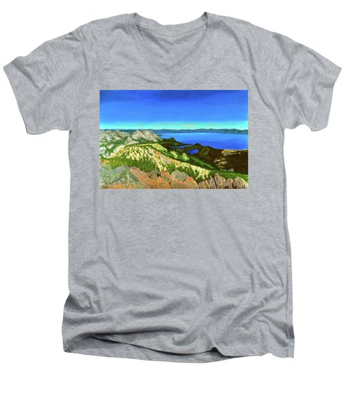 Lake Tahoe Panorama Men's V-Neck T-Shirt