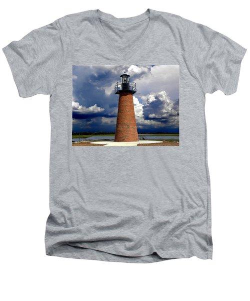 Lake Toho Lighthouse 002  Men's V-Neck T-Shirt by Chris Mercer