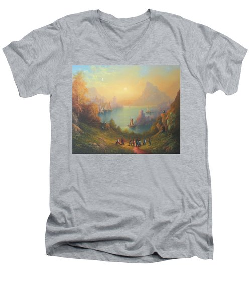 Lake Town Thirteen Dwarves And A Hobbit Named Bilbo Men's V-Neck T-Shirt by Joe  Gilronan