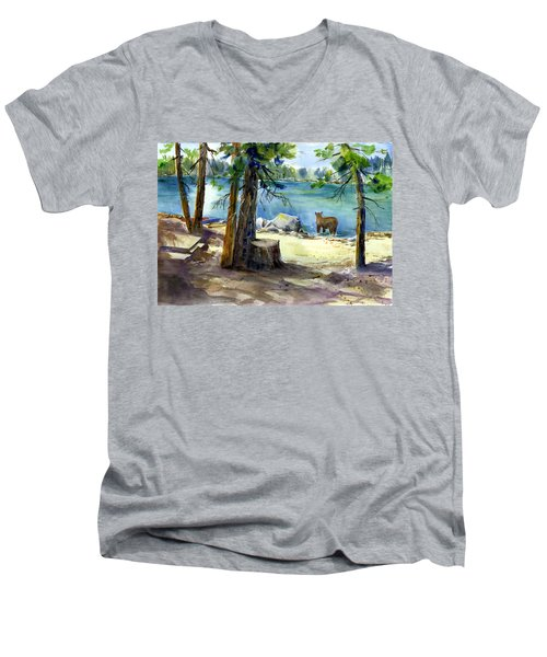 Lake Valley Bear Men's V-Neck T-Shirt