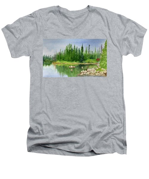 Men's V-Neck T-Shirt featuring the painting Lake View 1-2 by Yoshiko Mishina