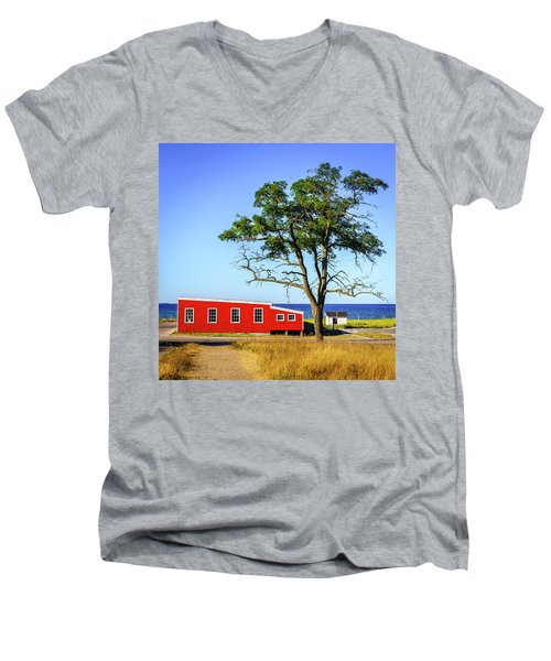Men's V-Neck T-Shirt featuring the photograph Lakefront In Glen Arbor by Alexey Stiop