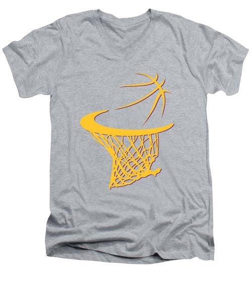 Lakers Basketball Hoop Men's V-Neck T-Shirt by Joe Hamilton