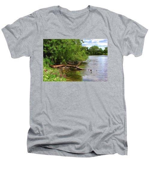 Lakeside Blossoms Men's V-Neck T-Shirt