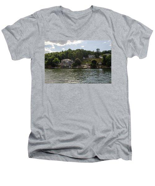 Men's V-Neck T-Shirt featuring the photograph Lakeside Living Hopatcong by Maureen E Ritter