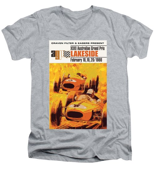 Lakeside Racing Men's V-Neck T-Shirt by Gary Grayson