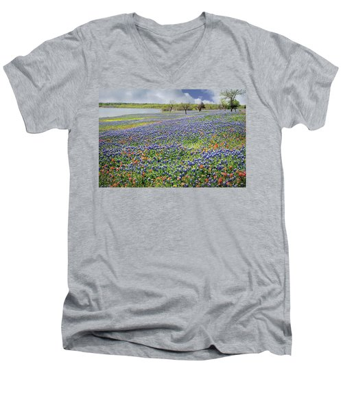 Men's V-Neck T-Shirt featuring the photograph Lakeside Texas Bluebonnets by David and Carol Kelly