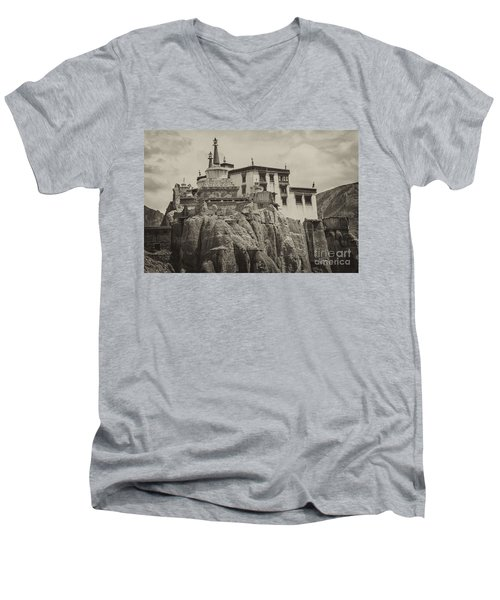 Lamayuru Monastery Men's V-Neck T-Shirt by Hitendra SINKAR