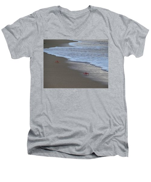 Lamu Island - Crabs Playing At Sunset 4 Men's V-Neck T-Shirt by Exploramum Exploramum