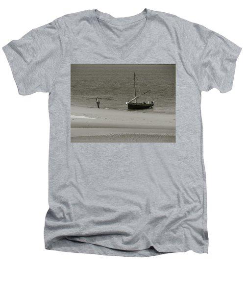 Lamu Island - Wooden Fishing Dhow Getting Unloaded - Black And White Men's V-Neck T-Shirt by Exploramum Exploramum