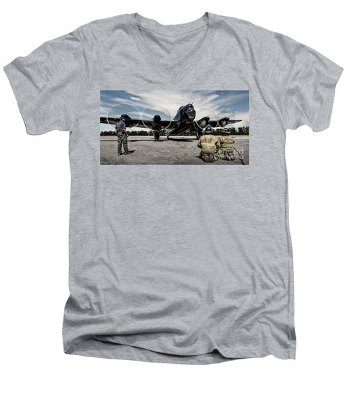 Men's V-Neck T-Shirt featuring the photograph Lancaster Engine Test by Brad Allen Fine Art