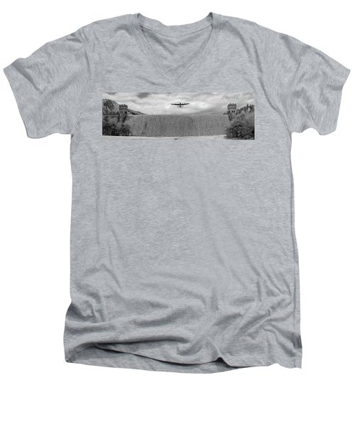 Men's V-Neck T-Shirt featuring the photograph Lancaster Over The Derwent Dam Bw Version by Gary Eason