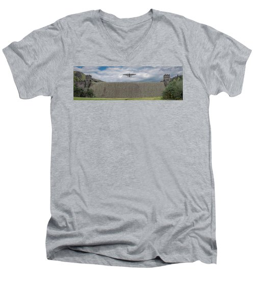 Men's V-Neck T-Shirt featuring the photograph Lancaster Over The Derwent Dam by Gary Eason