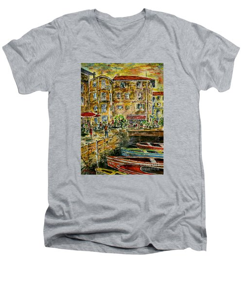 Land And Water And People Therebetween Men's V-Neck T-Shirt by Alfred Motzer