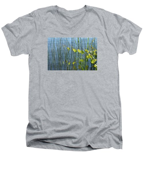 Men's V-Neck T-Shirt featuring the photograph Land And Water Plants  by Lyle Crump