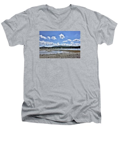 Land Bridge From Bar Harbor To Bar Island - Maine Men's V-Neck T-Shirt