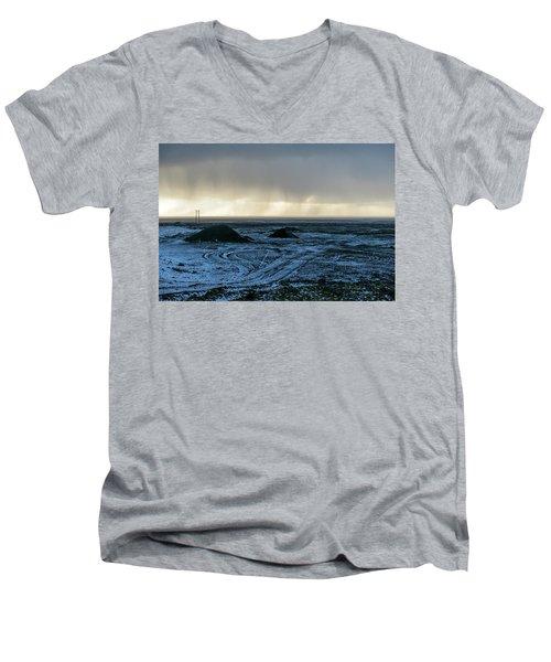Men's V-Neck T-Shirt featuring the photograph land of Lava by Dubi Roman