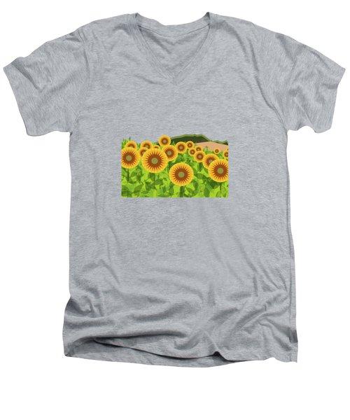 Land Of Sunflowers. Men's V-Neck T-Shirt