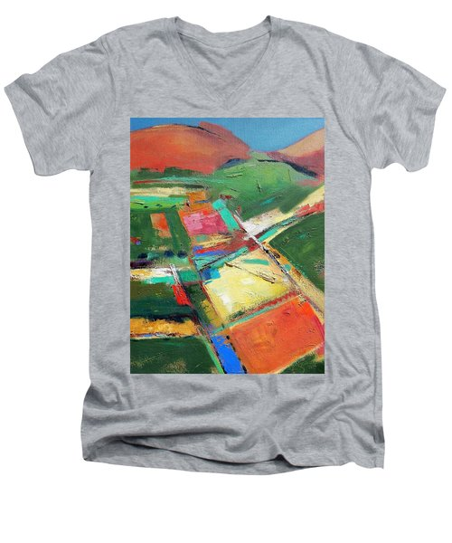 Land Patches Men's V-Neck T-Shirt by Gary Coleman