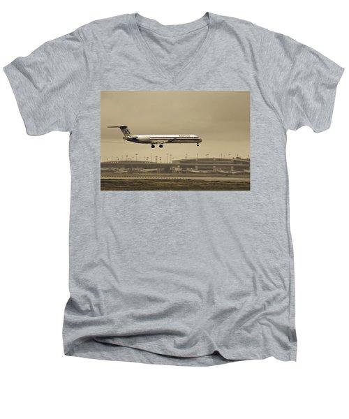 Landing At Dfw Airport Men's V-Neck T-Shirt by Douglas Barnard