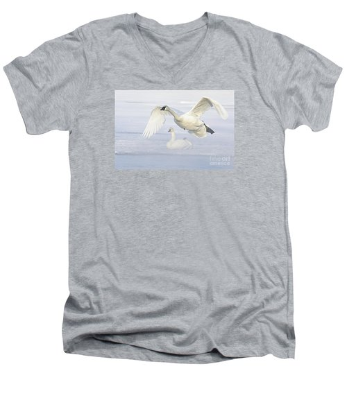 Men's V-Neck T-Shirt featuring the photograph Landing In The Cold by Larry Ricker