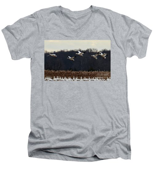 Men's V-Neck T-Shirt featuring the photograph Landing by Tamera James