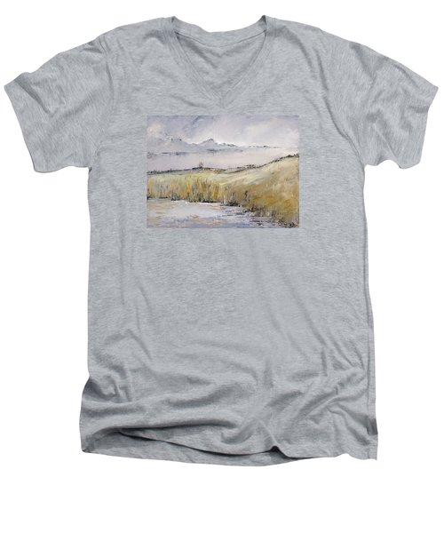 Landscape In Gray Men's V-Neck T-Shirt by Carolyn Doe