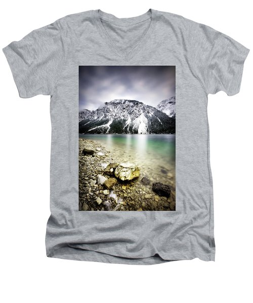 Landscape Of Plansee Lake And Alps Mountains During Winter, Snowy View, Tyrol, Austria. Men's V-Neck T-Shirt