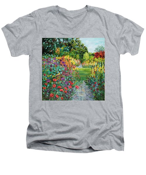 Landscape With Poppies Men's V-Neck T-Shirt