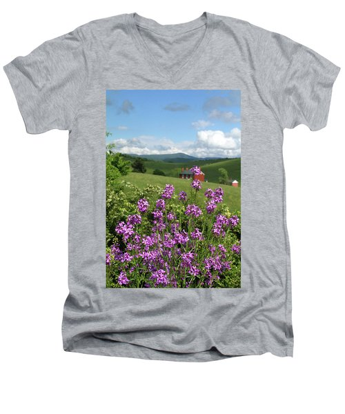 Men's V-Neck T-Shirt featuring the photograph Landscape With Purple Flowers by Emanuel Tanjala
