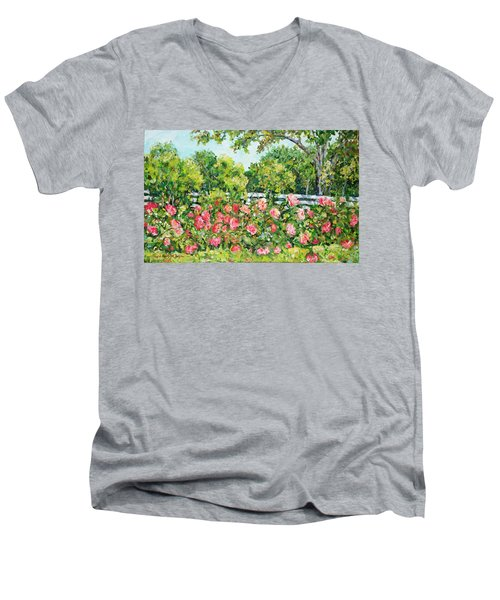 Landscape With Roses Fence Men's V-Neck T-Shirt